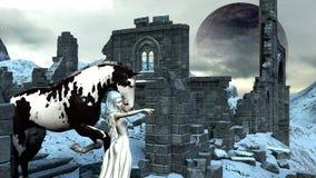 Principessa Elf della neve di fantasia con il suo Unicorn Horse Immagine Stock Libera da Diritti