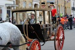 Principessa Eugenie & Jack Brooksbank Windsor, Regno Unito - 12/10/2018: Parata della processione di nozze di principessa Eugenie immagini stock libere da diritti