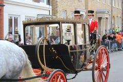 Principessa Eugenie & Jack Brooksbank Windsor, Regno Unito - 12/10/2018: Parata della processione di nozze di principessa Eugenie immagine stock libera da diritti