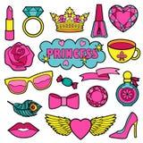 Principessa Fashion Patches Set Immagini Stock