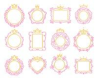 Principessa Frame Il confine sveglio della corona, le strutture reali dello specchio e lo scarabocchio maestoso di principe confi illustrazione di stock