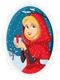 Principessa With Gift Box di Natale nell'inverno fuori Immagine Stock Libera da Diritti