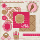 Principessa Girl Birthday Set Immagine Stock