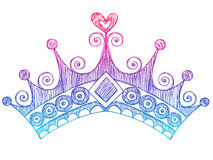 Principessa imprecisa Tiara Crown Notebook Doodles Fotografia Stock