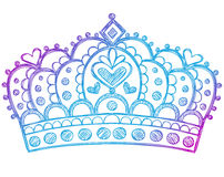Principessa imprecisa Tiara Crown Notebook Doodles Immagine Stock Libera da Diritti