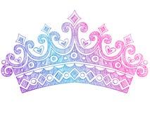 Principessa imprecisa Tiara Crown Notebook Doodles Fotografie Stock Libere da Diritti