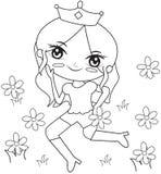 Principessa nella pagina di coloritura del giardino floreale Immagini Stock