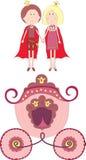 Principessa, principe e carrello Fotografia Stock