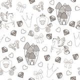 Principessa Seamless Pattern per il tessuto con il castello, corona, farfalla, diamante Modello senza cuciture astratto per le ra Immagine Stock