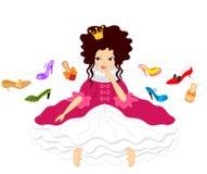 Principessa sorridente graziosa Chooses Shoes Immagine Stock
