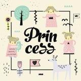 Principessa sveglia Design Il fondo puerile creativo con le ragazze e gli animali adorabili per la copertura, decorazione, stampa royalty illustrazione gratis