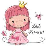Principessa sveglia di fiaba su un fondo bianco illustrazione vettoriale