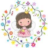 Principessa sveglia nel telaio dei fiori illustrazione di stock