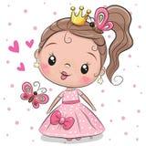 Principessa sveglia su un fondo bianco illustrazione vettoriale