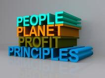 Principi di profitto del pianeta della gente Immagini Stock