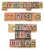 Principi, morali e regole immagine stock