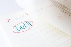 Principio de la dieta en un diario Fotos de archivo libres de regalías
