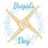 Principio del d?a de Brigid del texto pagano del d?a de fiesta de la primavera en una guirnalda de copos de nieve con la cruz de  stock de ilustración