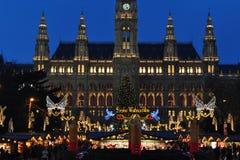 Principio del mercado del tiempo de la Navidad en Viena Imagen de archivo libre de regalías