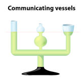 Principle of Communicating Vessels. Communicating vessels. 3 inter-communicating glass tubes of different diameters and shapes. demonstration tool for the Stock Photos