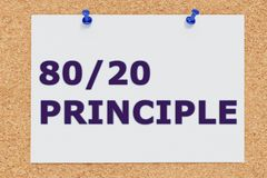 80/20 Principle concept. 3D illustration of 80/20 PRINCIPLE on cork board Stock Photography
