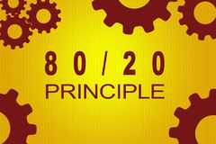 80/20 Principle concept. 80/20 PRINCIPLE sign concept illustration with red gear wheel figures on yellow background Stock Illustration