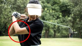 The principle of golf. Asian golf player, The arm is not straight royalty free stock images