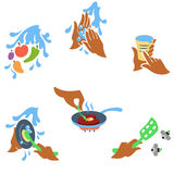 Principles of food hygiene set one. Solid fill icon set about food hygiene royalty free illustration