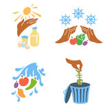 Principles of food hygiene set two. Solid fill icon set about food hygiene vector illustration