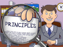 Principles through Magnifying Glass. Doodle Style. Stock Photo