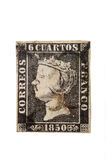 Priner seal of Spain, Isabel II, 1850. 6 cuartos de 1850, first black stamp Spain royalty free stock photos