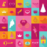 Priness Flat Icons Set Stock Photos