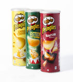 Pringles ist eine Marke von Kartoffelsnackchips Stockfotografie