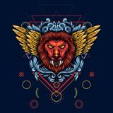 PrinIllustration золотой, который подогнали мифической головы льва С флористи бесплатная иллюстрация