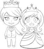 Prins en Prinses Coloring Page 1 Royalty-vrije Stock Fotografie