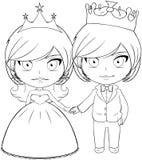 Prins en Prinses Coloring Page 3 Stock Afbeeldingen