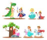 Prins en prinseskarakterontwerp royalty-vrije illustratie