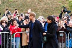Prins Harry en Meghan Markle-bezoek Cardiff, Zuid-Wales, het UK royalty-vrije stock foto