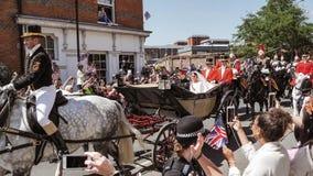 Prins Harry, hertig av Sussex och Meghan, hertiginna av Sussex tjänstledigheter royaltyfria bilder