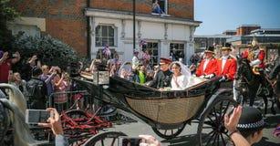 Prins Harry, hertig av Sussex och Meghan, hertiginna av Sussex tjänstledigheter royaltyfria foton
