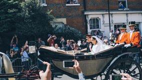 Prins Harry, hertig av Sussex och Meghan, hertiginna av Sussex tjänstledigheter royaltyfri foto