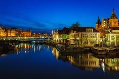 Prins Hendrikkade at Night, Amsterdam Stock Photos