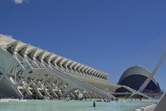 Prins Philip Science Museum bij middag in Valencia, Spanje royalty-vrije stock afbeeldingen