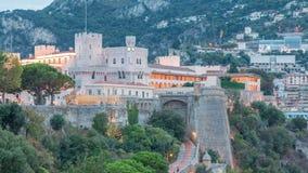 Prins` s Paleis van de dag van Monaco aan nacht timelapse met observatiedek stock videobeelden