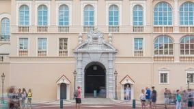 Prins` s Paleis van Monaco timelapse - het is de officiële woonplaats van de Prins van Monaco stock footage