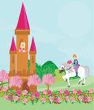 Prins som rider en häst till prinsessan Fotografering för Bildbyråer