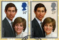 Prinsar Charles och dam Diana Spencer Postmarked Postage Stamp Arkivbilder