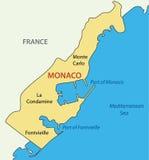 Prinsdom van Monaco - kaart van land Stock Fotografie