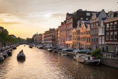 Prinsengracht Amsterdam kanal Royaltyfri Fotografi