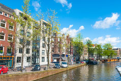 The Prinsengracht canal with houseboats. Royalty Free Stock Photos